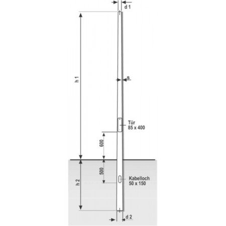 Lichtmast konisch rund 5 Meter Lichtpunkthöhe 76 oder 60 mm